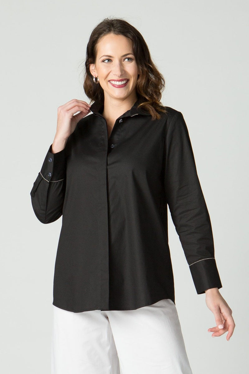 "29"" Button Front Shirt with Chain Detail at Neck and Cuff"