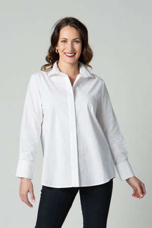 "29"" Button Front Shirt with Chain Detail at Neck and Cuff - Amélline - Tops - Blouses"