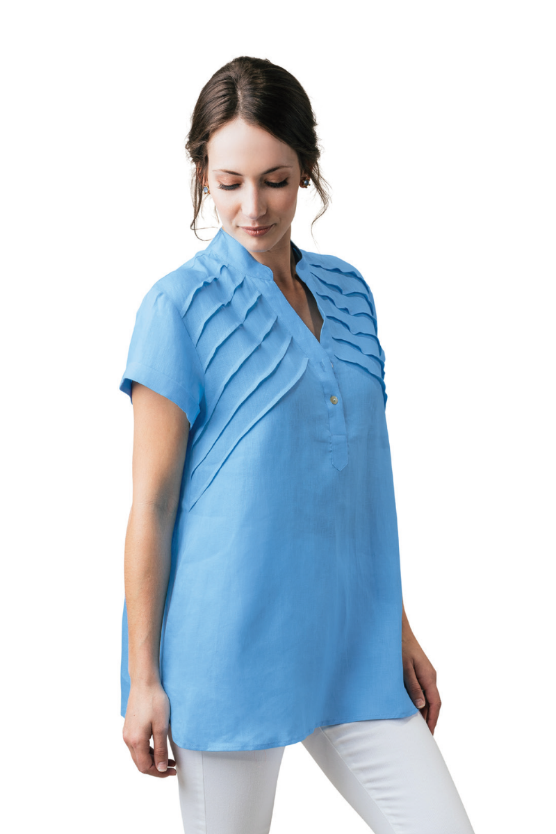 "29"" Short Sleeve Tunic with Pleat Details"
