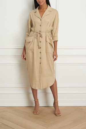 Belted Shirt Dress with Patch Pockets