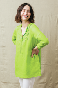 "29"" ¾ Sleeve V-Neck Tunic with Pleat Details"