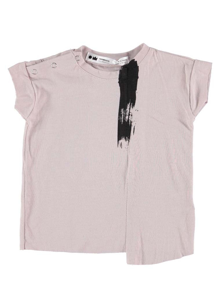DECONSTRUCTED T-SHIRT WITH BRUSH PRINT (STONE)
