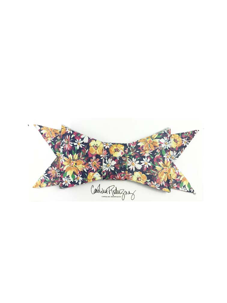 LEANDRA NAVY FLORAL - LEATHER HAIR BOW