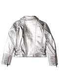 BASIX SILVER VEGAN LEATHER MOTO JACKET