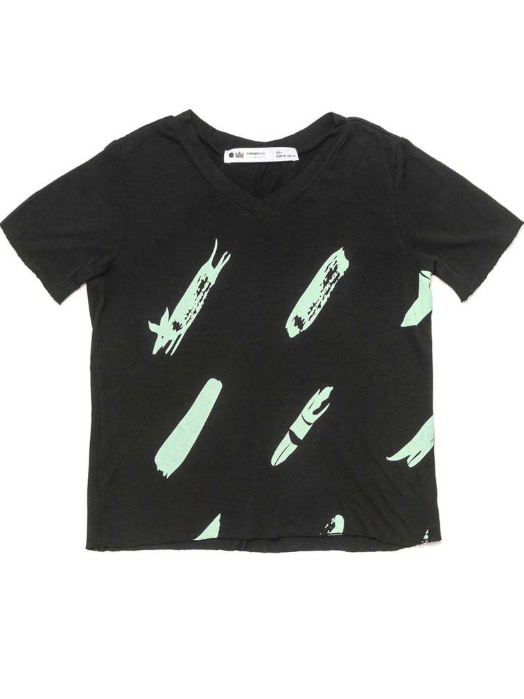 V-NECK T-SHIRT WITH PRINT BLACK