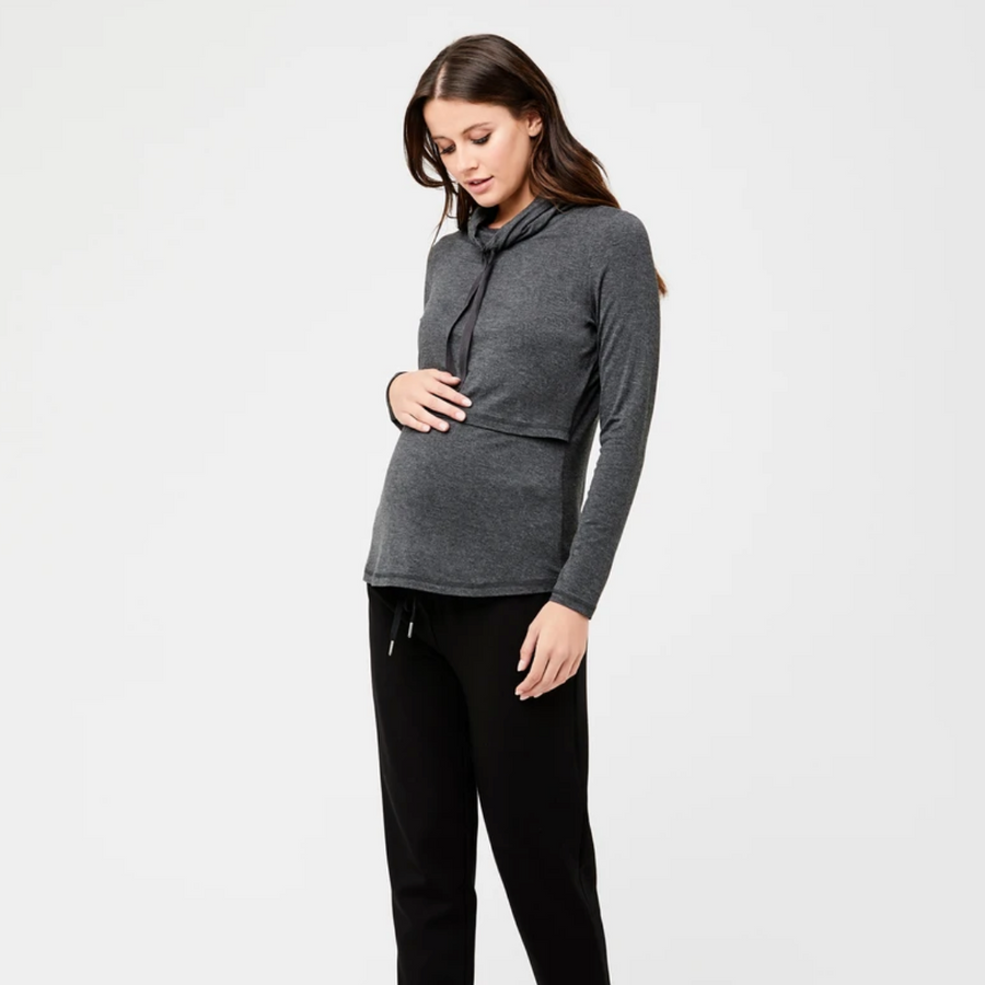 Terry Nursing Top | Charcoal Marle