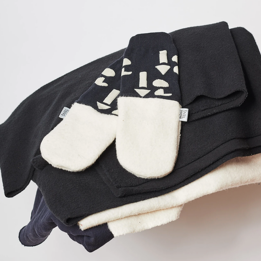 Upcycle Collection Mittens-Cream with Black Sleeve
