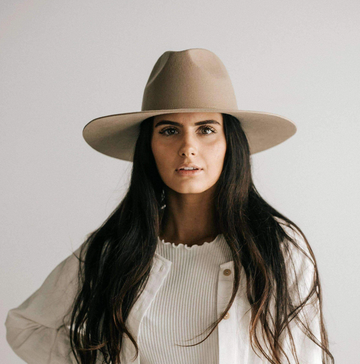 Emma Wide Brim Fedora | Tan