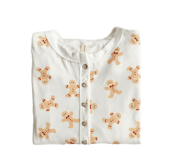 Kids Henley Romper - Gingerbread