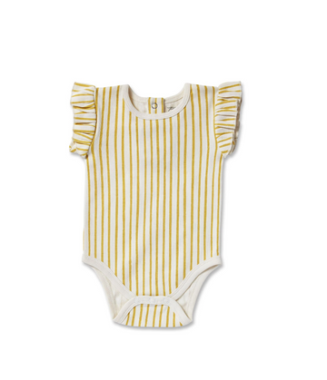 Stripes Away Short Sleeve Ruffle Onesie