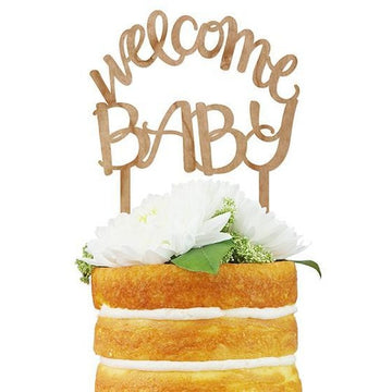 Welcome Baby Script Cake Topper