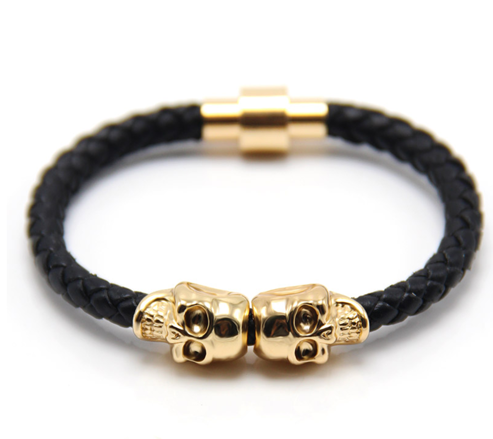 The Twin Skull - Jet Black Braided Leather & Gold Men's Bracelet