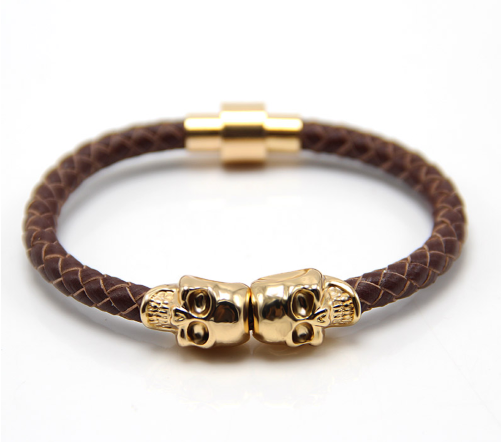 The Twin Skull - Chocolate Brown Braided Leather & Gold Skull Bracelet