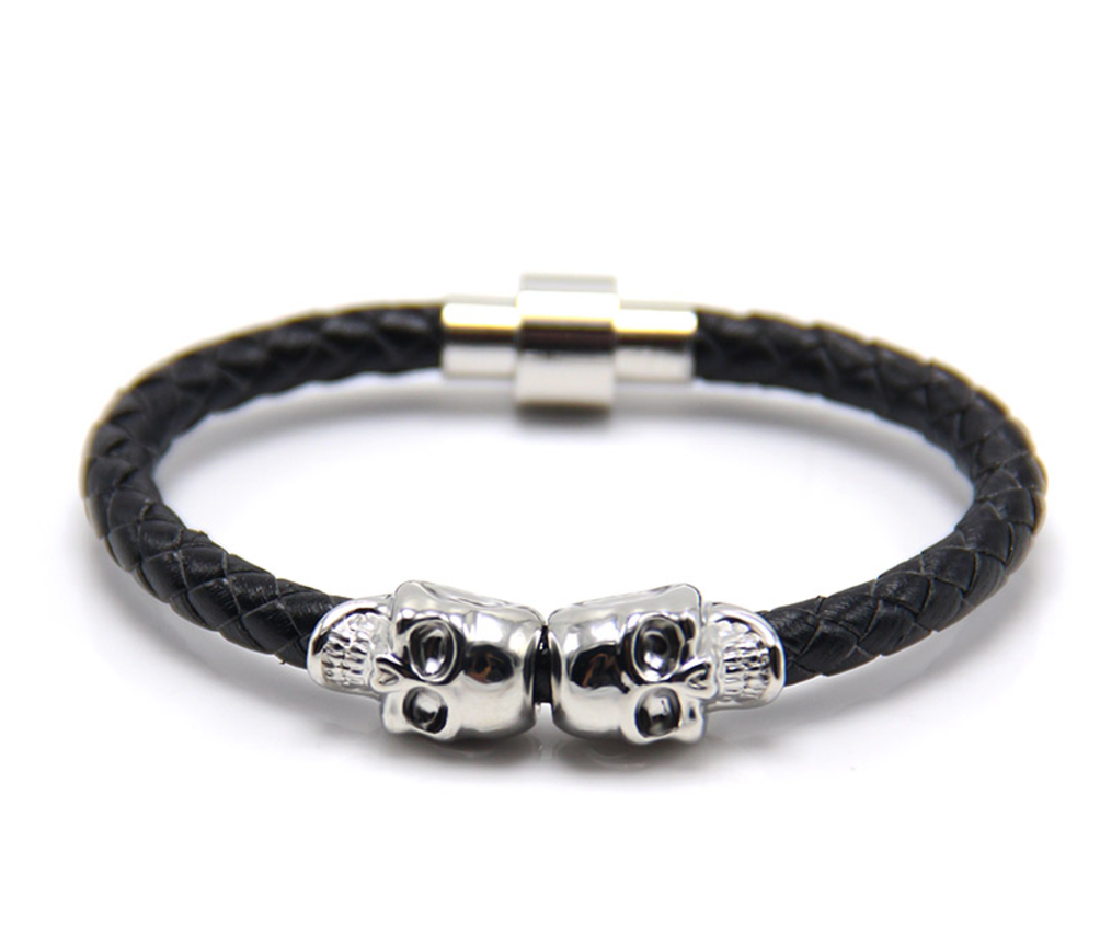 The Twin Skull - Jet Black Braided Leather & Silver Skull Men's Bracelet