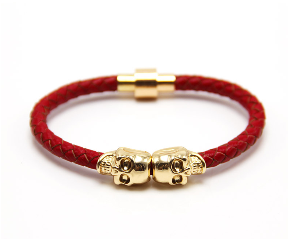 The Twin Skull - Crimson Red Leather & Gold Skull Bracelet
