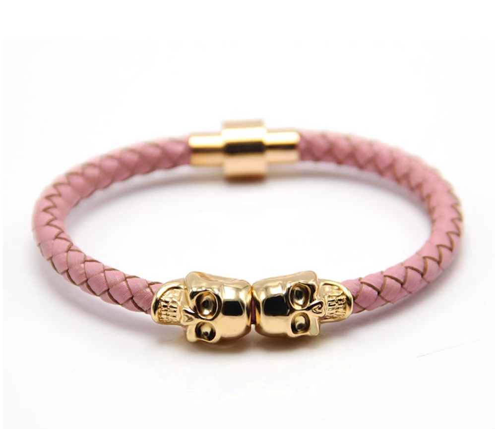 The Twin Skull - Pink Braided Leather & Gold Skull Bracelet