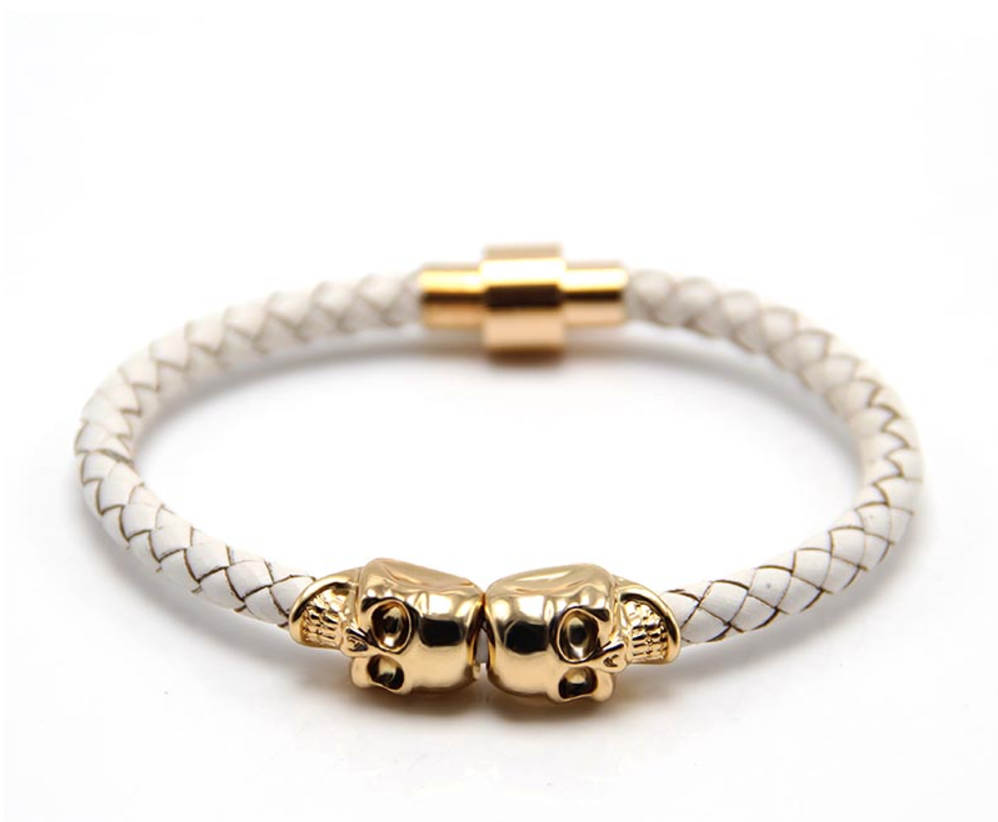 The Twin Skull - Pure White Braided Leather & Gold Skull