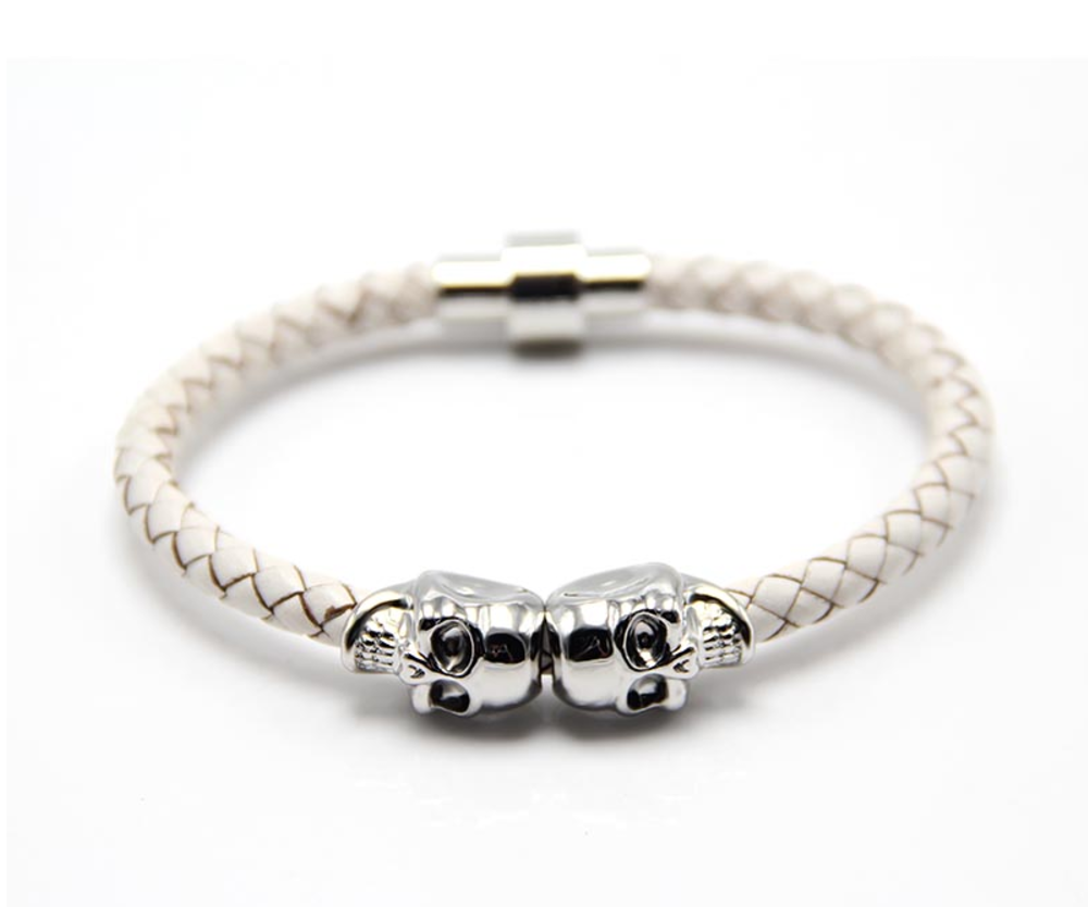 The Twin Skull - Pure White Braided Leather & Silver Skull