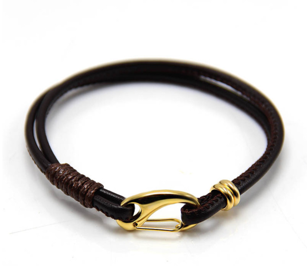 The Garrison - Black Leather & Gold Clasp
