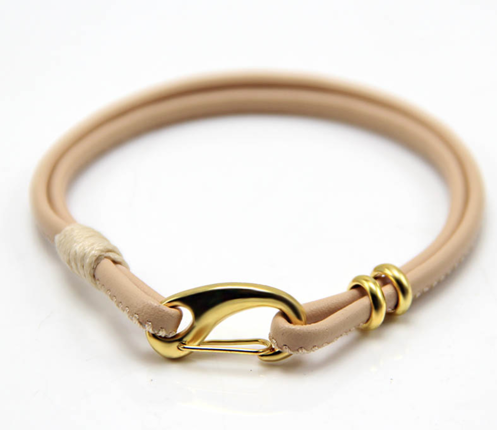 Her's: The Garrison Cream Leather & Gold Clasp Bracelet
