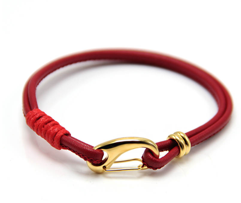 The Garrison - Crimson Red Leather & Gold Bracelet