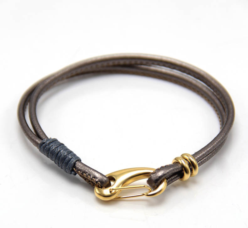 The Garrison - Grey Leather & Gold Clasp