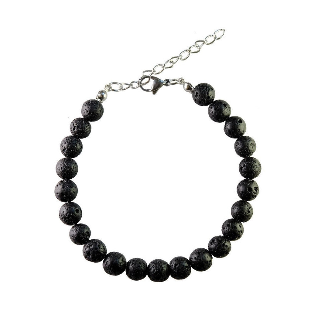 The Armstrong Lava Bead Bracelet, Stainless Steel