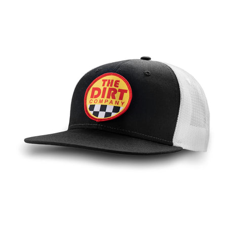 Dirt Co. Freestyle 6 Panel Twill Hat (Black/ White Mesh)