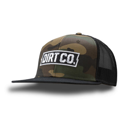 Rocker Snap Back 6 Panel Twill Hat (Camo / Black Mesh)