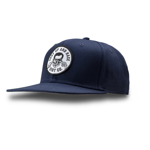 Shut Up And Race Snap Back 6 Panel Twill Hat (Navy)