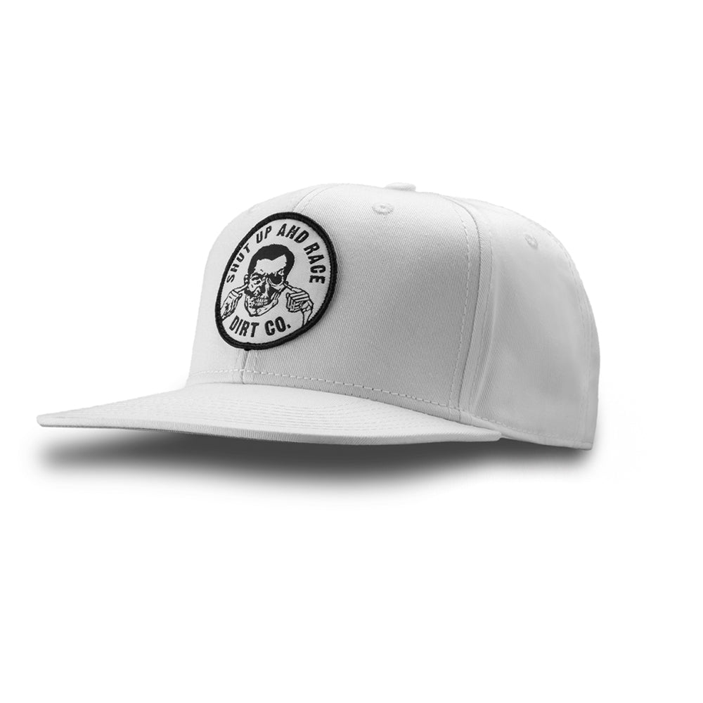 Shut Up And Race Snap Back 6 Panel Twill Hat (White)