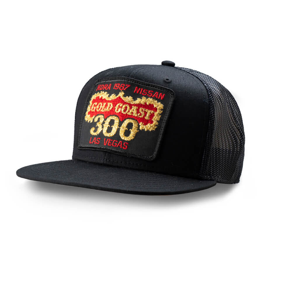 Dirt Co. 1987 HDRA Nissan Gold Coast 300 Vintage Patch Hat (Black/ Black Mesh)