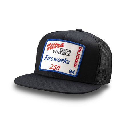 Dirt Co. 1994 SCORE Ultra Custom Wheels Fireworks 250 Vintage Patch Hat (Black/ Black Mesh)