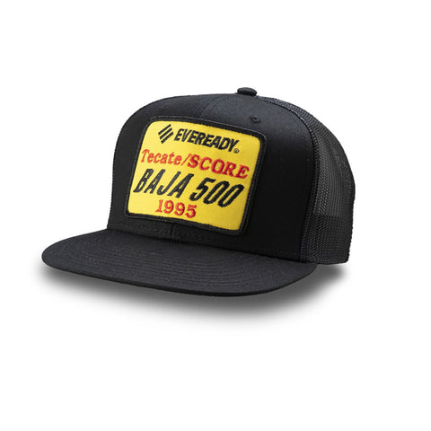 Dirt Co. 1995 Eveready Tecate SCORE Baja 500 Vintage Patch Hat (Black/ Black Mesh)