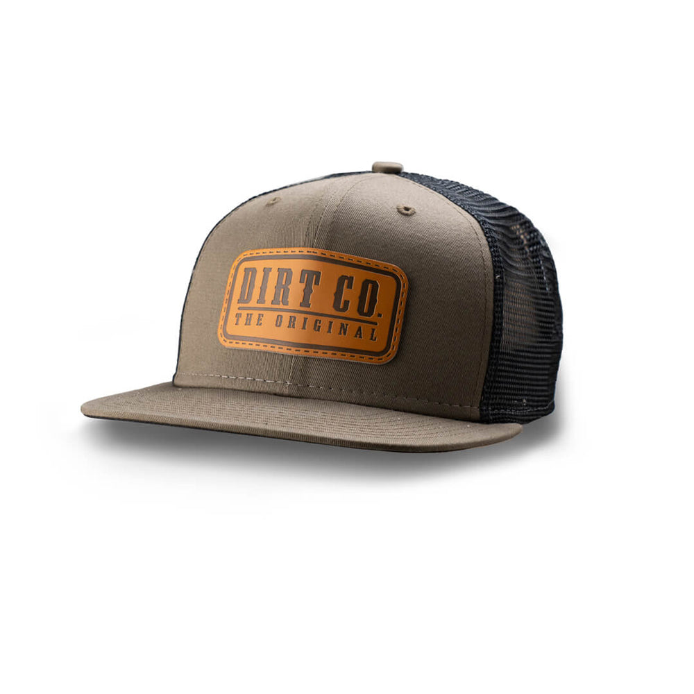 Dirt Co. El Rancho Leather Patch 6 Panel Twill Hat (Olive/ Black Mesh)