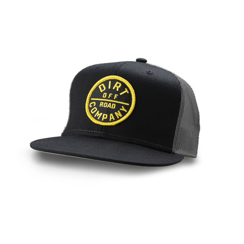 Dirt Co. Emblem Badge 6 Panel Twill Hat (Black/ Charcoal Mesh)