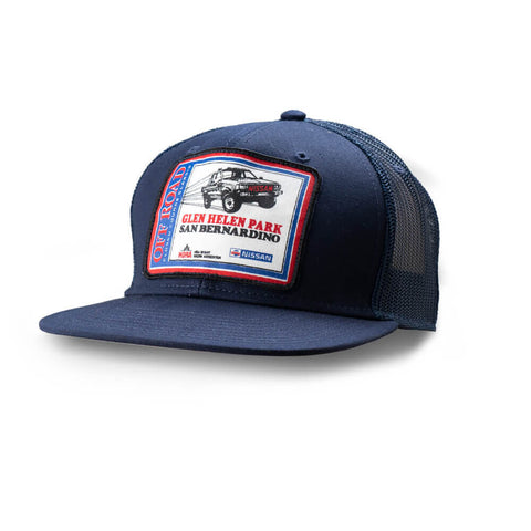Dirt Co. HDRA Nissan Glen Helen Park Off Road Closed Course Classic Vintage Patch Hat (Navy/ Navy Mesh)