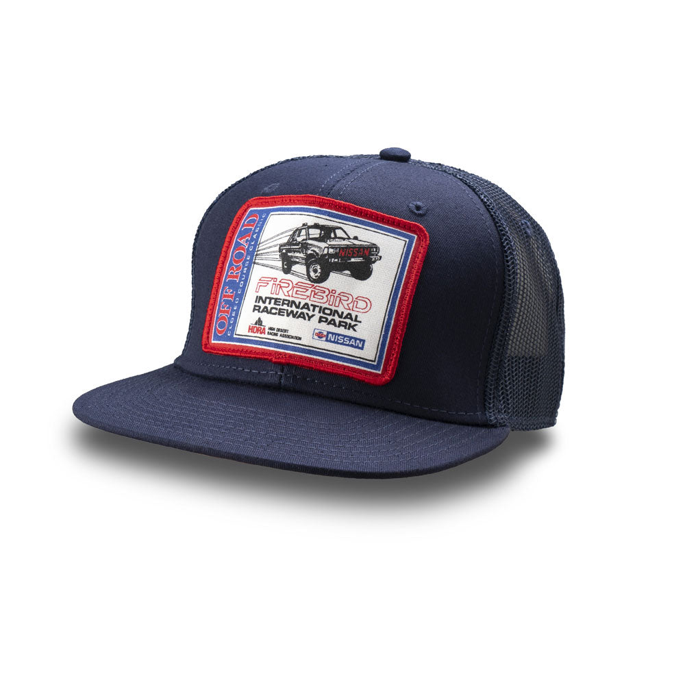 Dirt Co. HDRA Nissan Off-Road Closed Course Classic Firebird Vintage Patch Hat (Navy/ Navy Mesh)