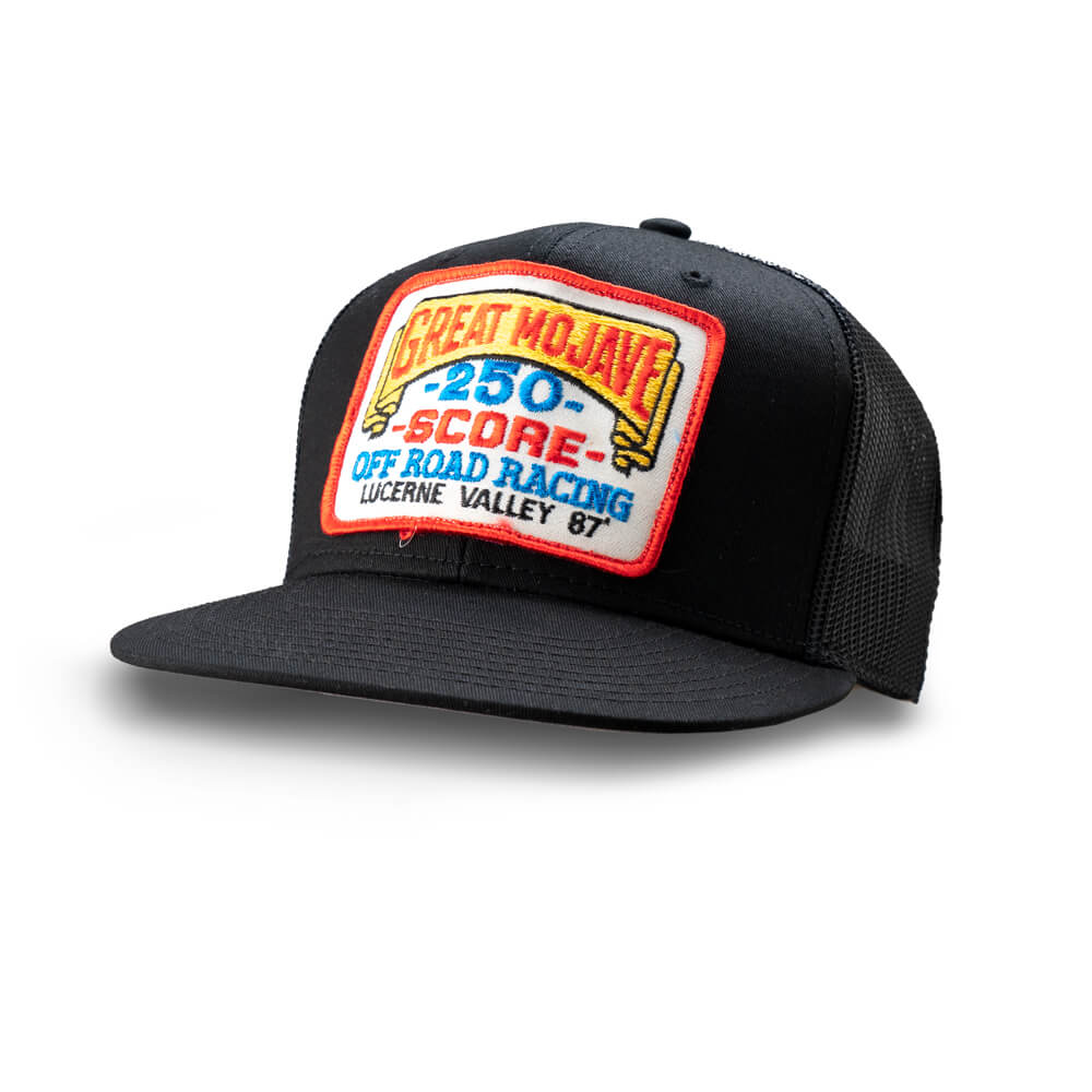 Dirt Co. 1987 SCORE Off Road Racing Great Mojave 250 Lucerne Valley Vintage Patch Hat (Black/ Black Mesh)