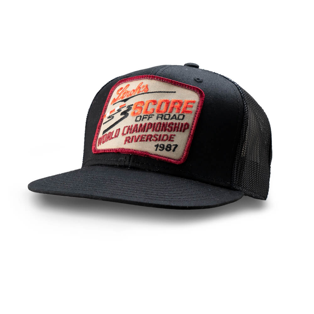 Dirt Co. 1987 Stroh's SCORE Off Road World Championship Riverside Vintage Patch Hat (Black/ Black Mesh)