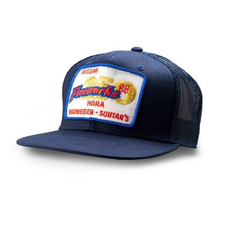 Dirt Co. 1988 Nissan Budweiser Soutar's Fireworks 250 Vintage Patch Hat (Navy/ Navy Mesh)