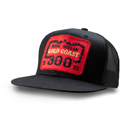 Dirt Co. 1989 HDRA Nissan Gold Coast 300 Vintage Patch Hat (Black/ Black Mesh)