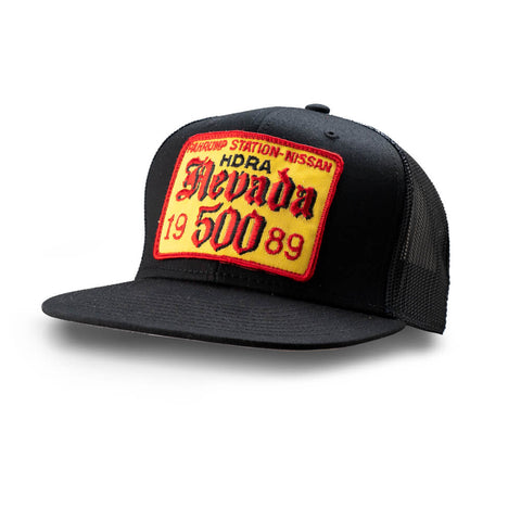 Dirt Co. 1989 Pahrump Station Nissan HDRA Nevada 500 Vintage Patch Hat (Black/ Black Mesh)