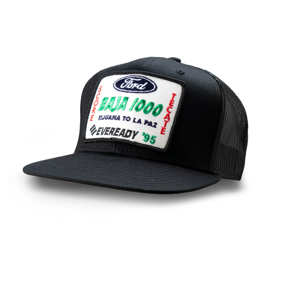 Dirt Co. 1995 Ford Tecate Eveready SCORE Baja 1000 Vintage Patch Hat (Black/ Black Mesh)
