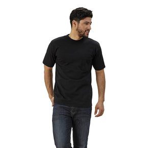 mens black crew neck shirt with pocket