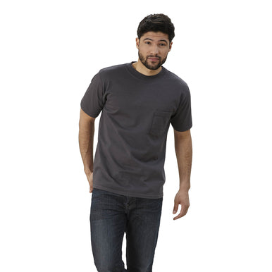 mens dark gray crew neck shirt with pocket