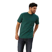 men's green crew neck shirt with pocket