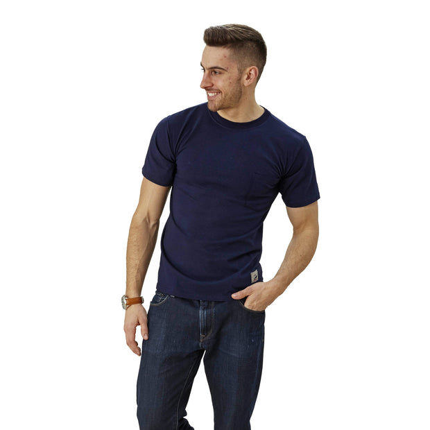 mens blue short sleeve crew neck shirt