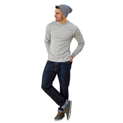 Adult Long Sleeve Crew Neck Grey Mock Twist