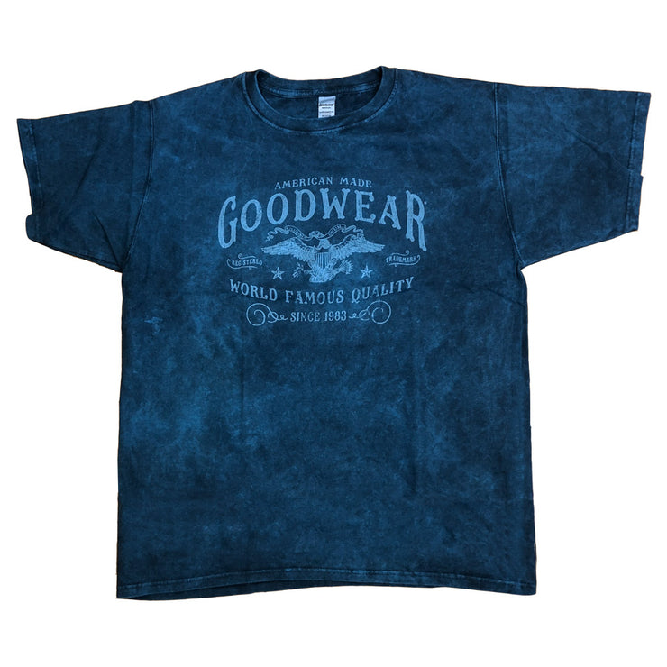 Adult Short Sleeve Crew American Made, Blue Acid Wash Over Dye